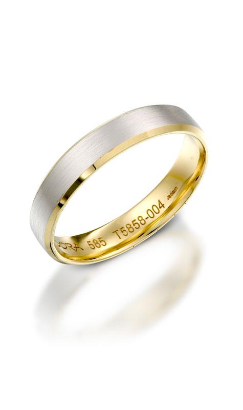 טבעת נישואין מזהב צהוב ולבן עם חריטה פנימית