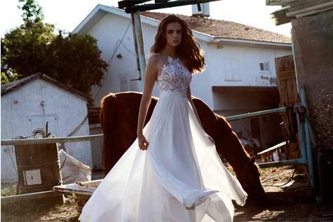 שמלת כלה קולר בשילוב תחרה בחלק העליון