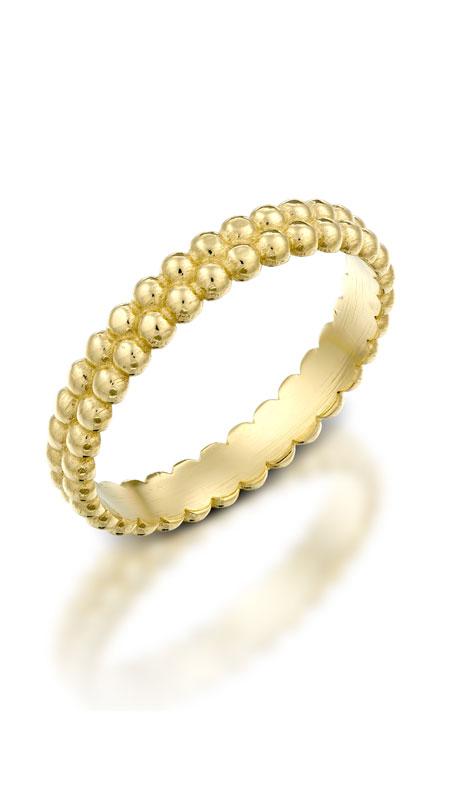טבעת נישואין מזהב צהוב בסגנון עיגולים